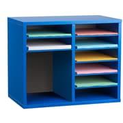 Adiroffice Wood Blue Adjustable 9 Compartment Literature Organizer (500-12-BLU)