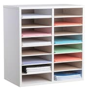 Adiroffice Wood White Adjustable 16 Compartment Literature Organizer (500-16-WHI)