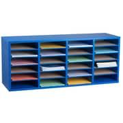 Adiroffice Wood Blue Adjustable 24 Compartment Literature Organizer (500-24-BLU)