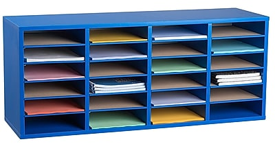 Adiroffice Wood Blue Adjustable 24 Compartment Literature Organizer (500-24-BLU)