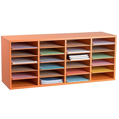 Adiroffice Wood Orange Adjustable 24 Compartment Literature Organizer (500-24-ORG)