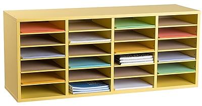 Adiroffice Wood Yellow Adjustable 24 Compartment Literature Organizer (500-24-YEL)
