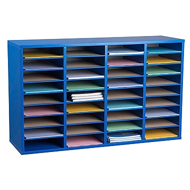 Adiroffice Wood Blue Adjustable 36 Compartment Literature Organizer (500-36-BLU)