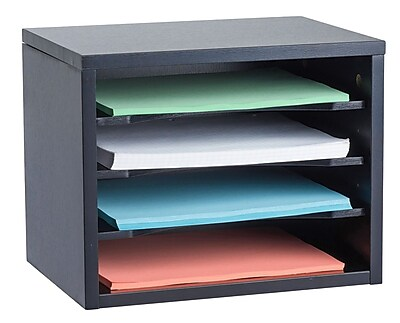 Adiroffice Black Wood Desk Workspace Organizers, 11