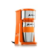 Adirchef Grab N' Go Orange Personal Coffee Maker With 15 Oz. Travel Mug (800-01-ORG)