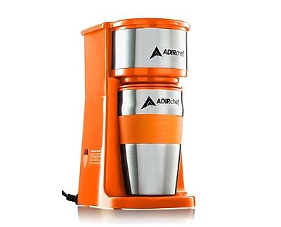 Adirchef Grab N' Go Orange Personal Coffee Maker with 15 oz. Travel Mug (800-01-ORG)