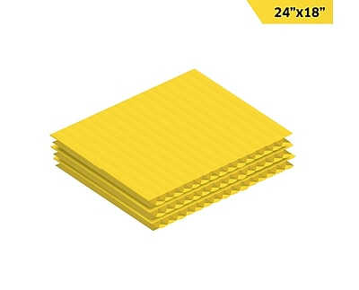 Adiroffice Yellow Corrugated Plastic Sheets Sign Blanks Short-Flute 0.15