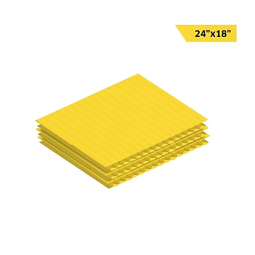 """Adiroffice Yellow Corrugated Plastic Sheets Sign Blanks Short-Flute 0.15"""" Thick 18"""" X 24"""" 48 Pack (CS2418-48-Y)"""