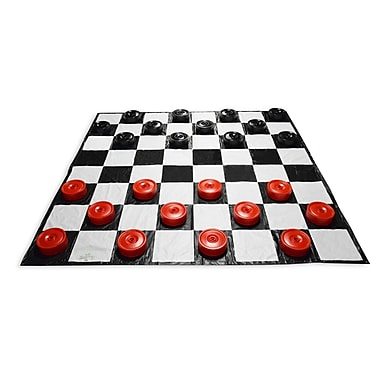 Garden Games Giant Checkers Set with Mat, Red/Black