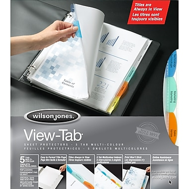 Wilson Jones® View-Tab® Sheet Protectors, 5-Tab, Multicolour (7891055114)