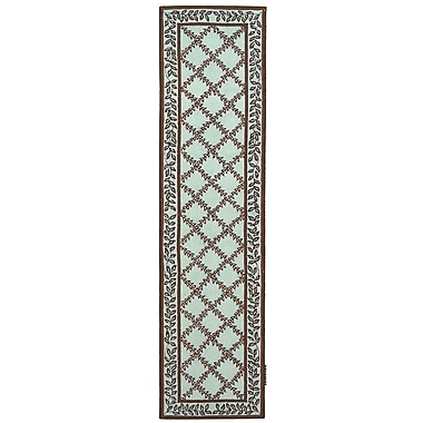 August Grove Isabella Brown / Light Green Area Rug; Runner 2'6'' x 10'