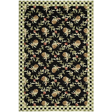 August Grove Isabella Black/Ivory Rug; Rectangle 7'9'' x 9'9''