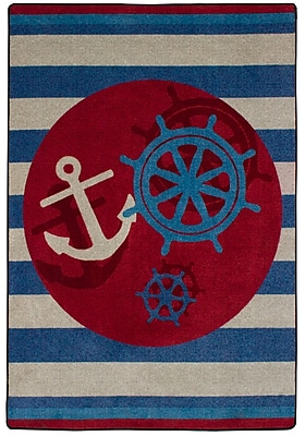 American Dakota Coastal Ahoy There Nautical Area Rug; Rectangle 5' x 8'