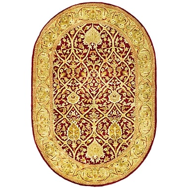 Astoria Grand Empress Red/Gold Area Rug; Oval 7'6'' x 9'6''