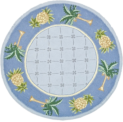Bay Isle Home Everglades Light Blue/ Blue Novelty Area Rug; Round 8'