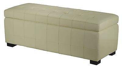 Brayden Studio Sinope Leather Storage Bench; Off-White