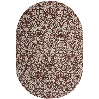 Charlton Home Helena Hand-Hooked Brown/Gray Area Rug; Oval 4'6'' x 6'6''
