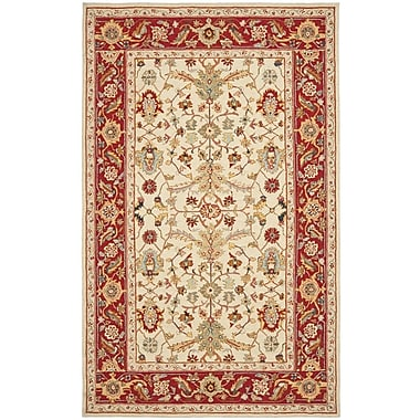 Charlton Home Helena Ivory&Red Area Rug; Rectangle 3'9'' x 5'9''