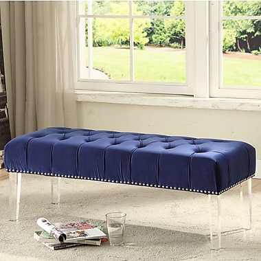 Everly Quinn Hanover Upholstered Bench; Navy