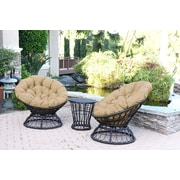 Jeco Inc. Papasan Espresso Wicker Swivel Chair and Table Set w/ Cushion; Tan