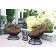 Jeco Inc. Papasan Espresso Wicker Swivel Chair and Table Set w/ Cushion; Brown