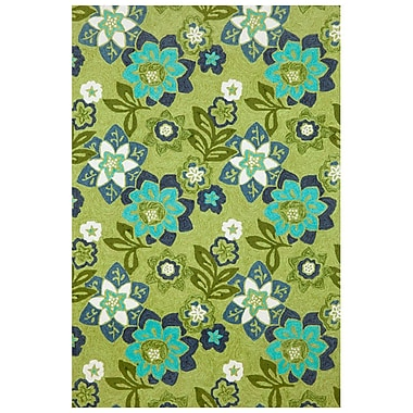 Ebern Designs Clarissa Scattered Green Flowers Indoor/Outdoor Area Rug; 8'3'' x 11'6''