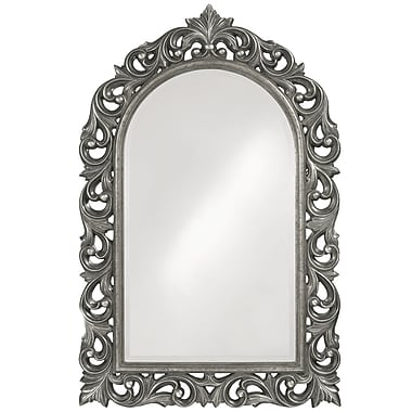 Astoria Grand Arch/Crowned top Glossy Hot Pink Lacquer Mirror; Nickel