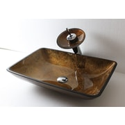 Arsumo Glass Rectangular Vessel Bathroom Sink; Brown