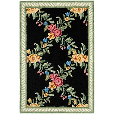 August Grove Isabella Black English Trellis Area Rug; Rectangle 1'8'' x 2'6''