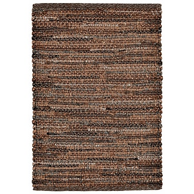 August Grove Sardis Hand-Woven Brown Indoor/Outdoor Area Rug; 5' x 7'6''