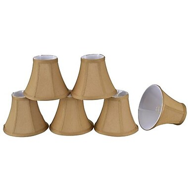 Aspen Creative Corporation 6'' Silk Bell Candelabra Shade (Set of 6); Light Brown