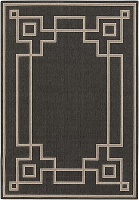 Charlton Home Pearce Black/Beige Indoor/Outdoor Area Rug; Rectangle 8'9'' x 12'9''