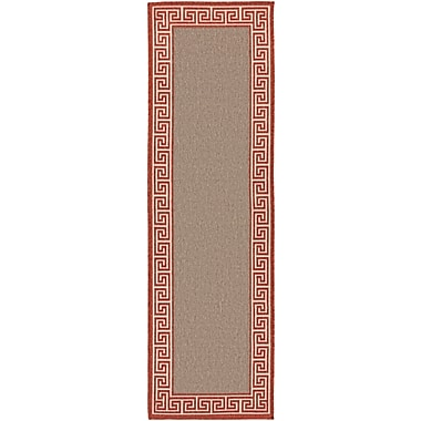 Charlton Home Pearce Rust/Taupe Indoor/Outdoor Area Rug; Runner 2'3'' x 7'9''