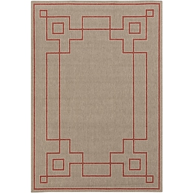 Charlton Home Pearce Beige/Cherry Indoor/Outdoor Area Rug; Rectangle 8'9'' x 12'9''
