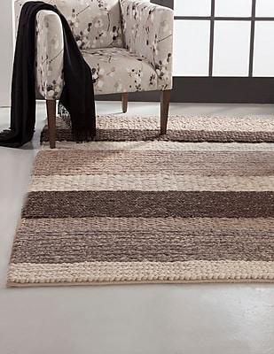 Gracie Oaks Lodi Brown/Tan Stripe Area Rug; 8' x 10'