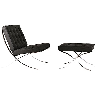 Orren Ellis Martin Lounge Chair & Ottoman; Distressed Black