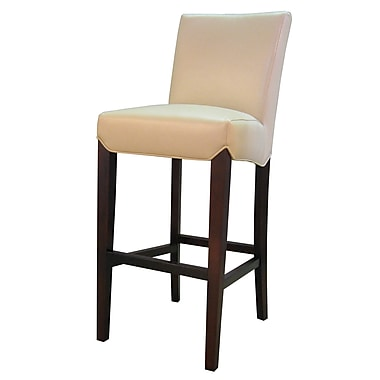 Breakwater Bay Ginevra 29.5'' Bar Stool w/ Cushion; Cream