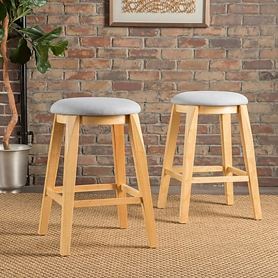 Corrigan Studio Baltwood 26'' Bar Stool (Set of 2); Light Gray