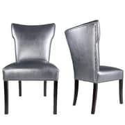Everly Quinn Cresson Vinyl Upholstered Contemporary Parsons Chair (Set of 2); Pewter