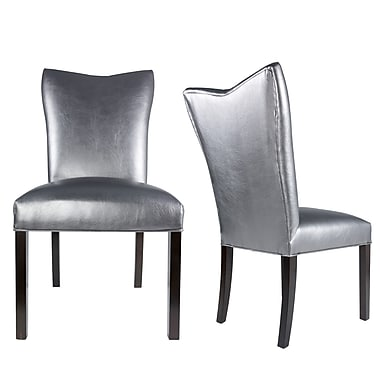 Everly Quinn Hazlett Vinyl Upholstered Contemporary Parsons Chair (Set of 2); Pewter