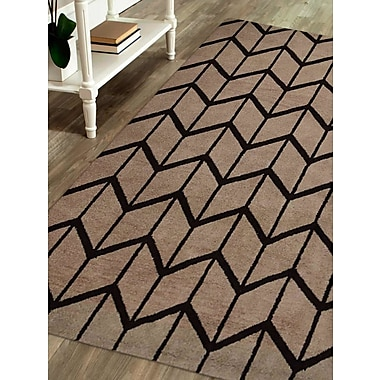 Latitude Run Mica Hand-Knotted Beige/Brown Area Rug; Rectangle 5' x 8'