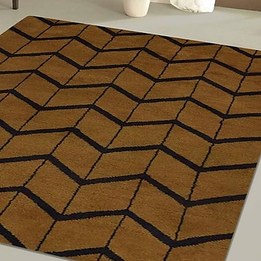 Latitude Run Mica Hand-Knotted Gold/Charcoal Area Rug; Rectangle 9' x 12'