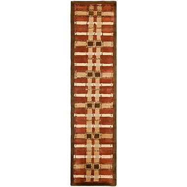 Martha Stewart Rugs Colorweave Plaid Hand-Tufted Rust Area Rug; Runner 2'3'' x 10'