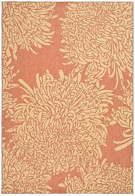 Martha Stewart Rugs Chrysanthemum Power Loomed Polypropylene Beige/Terracotta Outdoor Area Rug