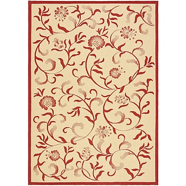 Martha Stewart Rugs Swirling Garden Creme / Red Area Rug; 8' x 11'2''