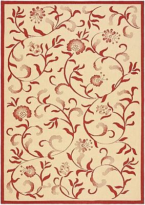 Martha Stewart Rugs Swirling Garden Creme / Red Area Rug; 5'3'' x 7'7''