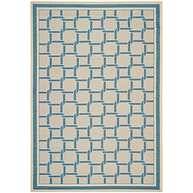Martha Stewart Rugs Resort Cream / Blue Area Rug; Rectangle 5'3'' x 7'7''
