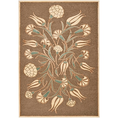 Martha Stewart Rugs Floral Arabesque Hand-Loomed Brown Area Rug; 4' x 5'7''