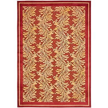 Martha Stewart Rugs Plume Stripe Hand-Loomed Red Area Rug; 4' x 5'7''