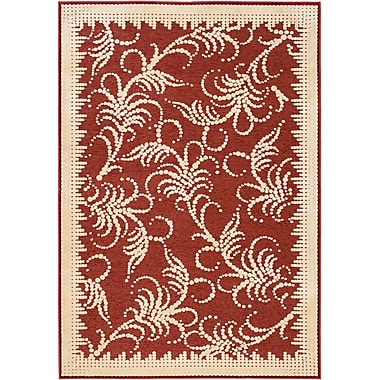 Martha Stewart Rugs Fountain Swirl Hand-Woven Red/Ivory Area Rug; 4' x 5'7''